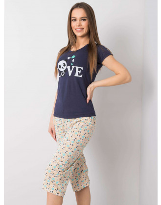 Navy blue printed two-piece pajamas
