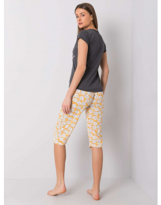 Yellow cotton printed pajamas