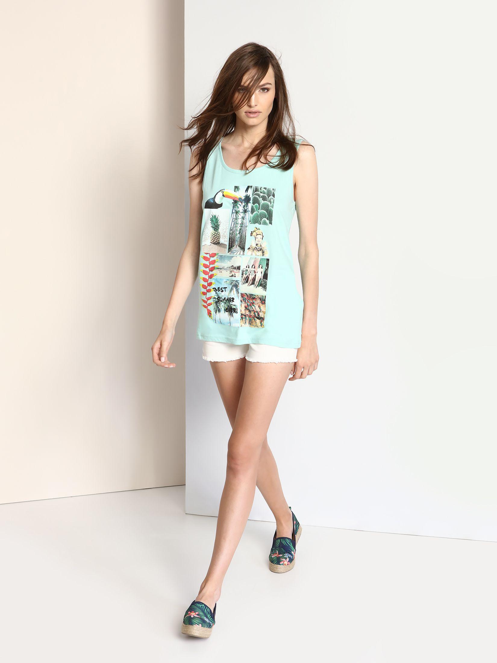 TOP SECRET αμανικο t-shirt με summer print
