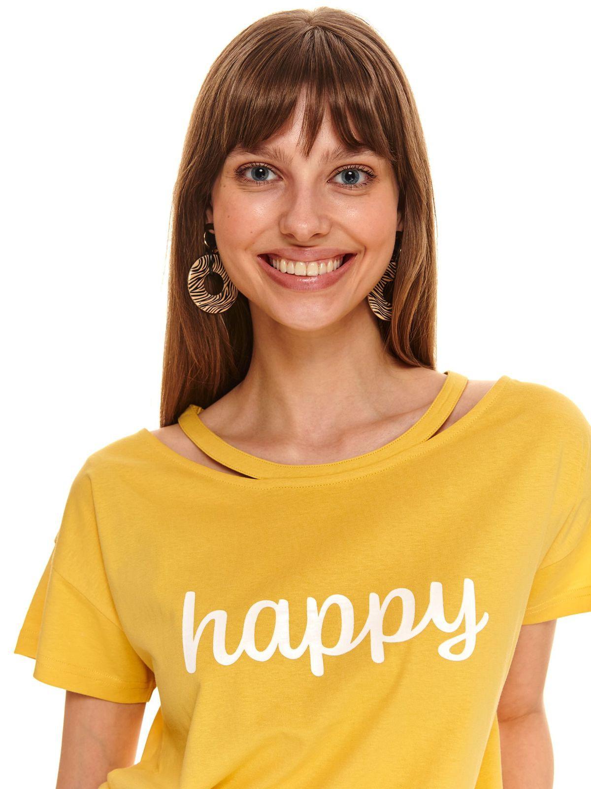 ΚΙΤΡΙΝΟ T-SHIRT ΜΕ LOGO HAPPY - 478796