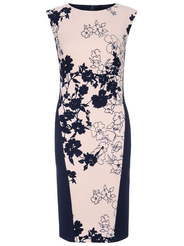 Κομψό pencil φόρεμα με φλοράλ μοτίβο και φερμουάρ στο πίσω μέρος