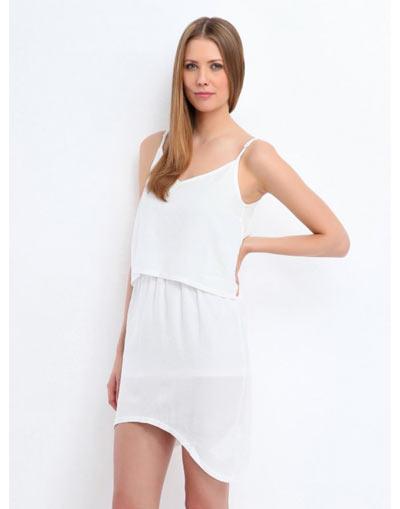 Ασυμμετρο λευκο φορεμα